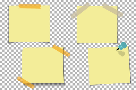 Set office Yellow paper note with sticky tape, isolated on transparent background. Template for your projects. Vector illustration