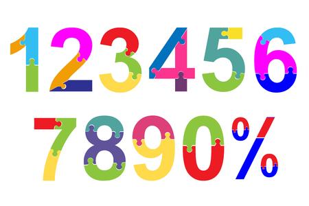 niños actuando: Fuente de rompecabezas. Niños de escuela brillantes, coloridos números de juguetes sobre fondo blanco.