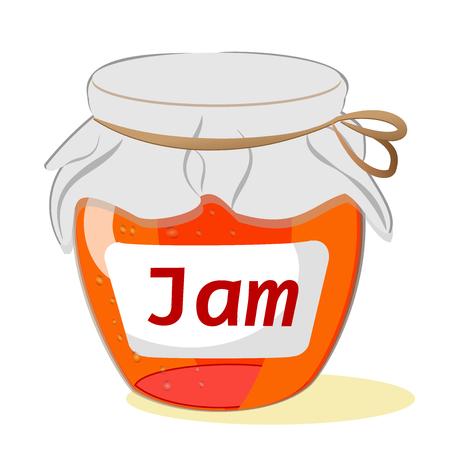 Jar of jam on a white background. Vector Illustration