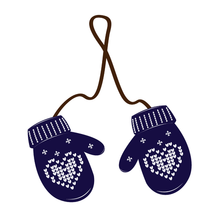 Pair blue of knitted christmas mittens on white background. Print heart. Vector illustration.