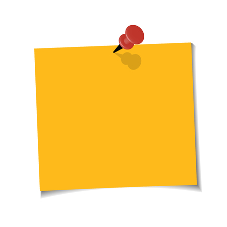 Office Yellow paper note with sticky tape on white background. Template for your projects.