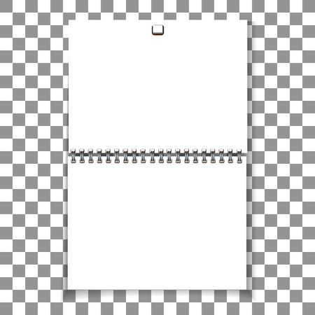 Spiral blank wall calendar template design. 일러스트