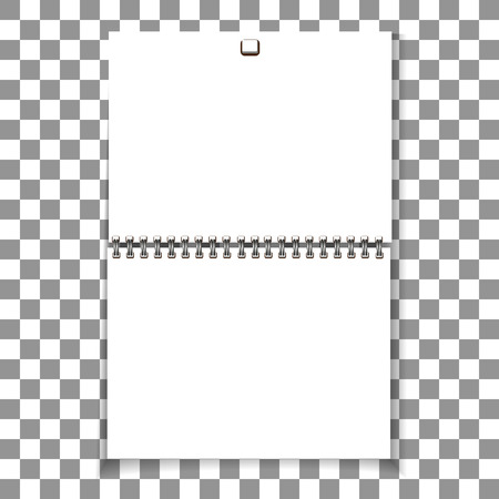 Spiral blank wall calendar template design. Ilustração