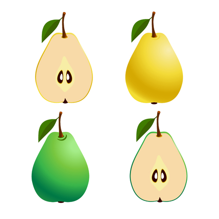 Fresh Pears, whole and cut fruit on a white background. Vector. Set Çizim