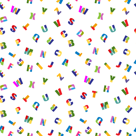 Puzzle font seamless pattern . School children bright, colorful toys alphabet. Isolated on white background. Vector
