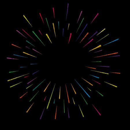 Colorful abstract festive firework shape. Burst light rays. Exploding graphic element. Embroidery numbers. Isolated on black background. Vector illustration Illustration