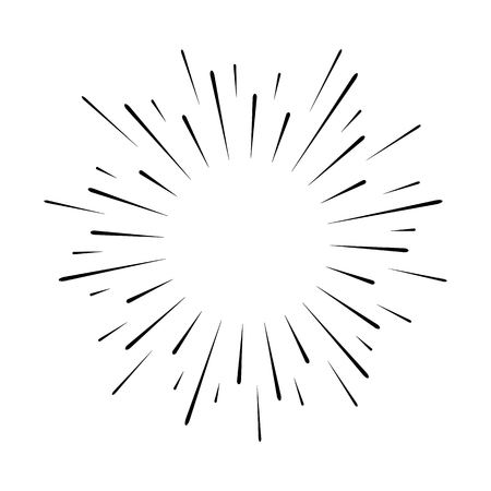 Abstract festive firework shape. Burst light rays. Exploding graphic element. Isolated on white background. Vector illustration Ilustração