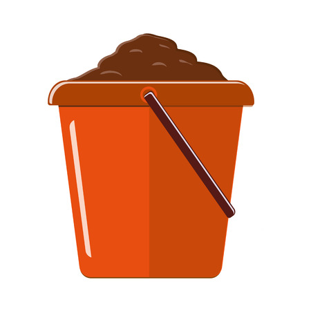 Plastic bucket to the ground. Isolated on white background. Vector illustration Иллюстрация