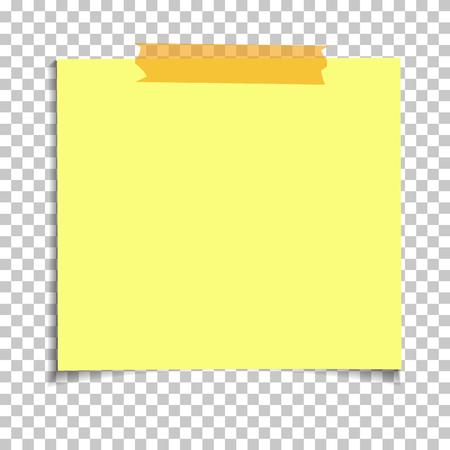 Nota appiccicosa di carta gialla dell'ufficio isolata su fondo trasparente. Modello per i tuoi progetti. Illustrazione vettoriale