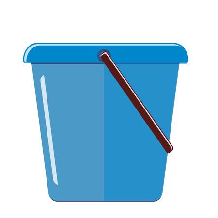 Blue plastic bucket isolated on white background. Illustration