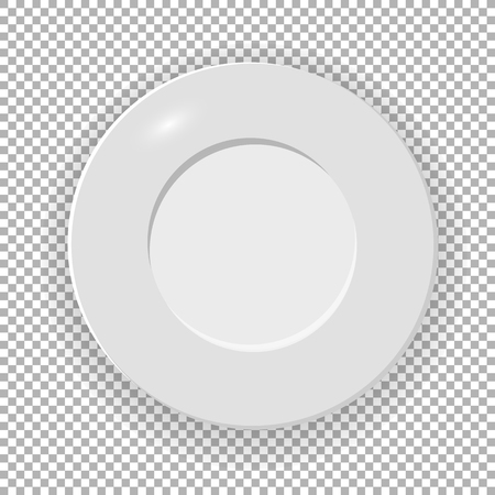 White plate Isolated on a transparent background. Utensils for eating  vector illustration.