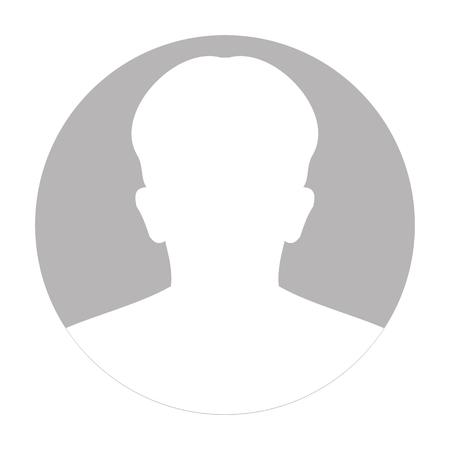 Perfil anónimo icono de la cara. Persona silueta gris. Avatar masculino por defecto. Foto de marcador de posición. Aislado en el fondo blanco Ilustración vectorial