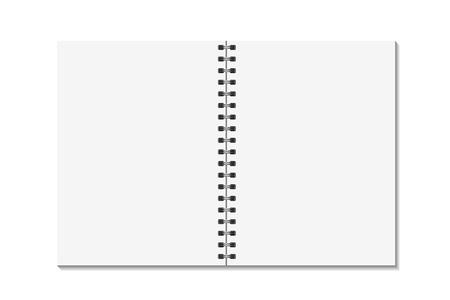 Leeg open pagina'sboek met het spiraalvormige malplaatje van het bindmiddelenmetaal. Notitieboekjespot op witte achtergrond omhoog wordt geïsoleerd die. Vector Stock Illustratie