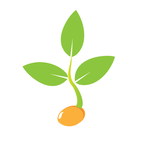 Planting seed sprout in ground. Symbol grow sapling. Icon, flat isolated on white background. Vector