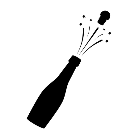 Black silhouette of a champagne bottle. Iconography. Vector