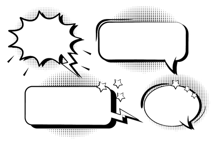 Set retro comic bubbles. Cartoon of blank template in pop art style halftone background vector illustration.