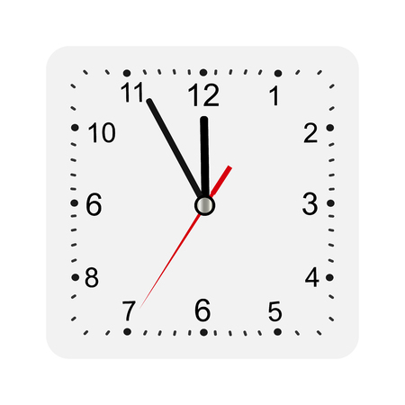 Classic square wall clock isolated on white background. Empty dial watch vector illustration.