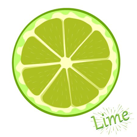 Fresh slices of lime isolated on white background Vector illustration.