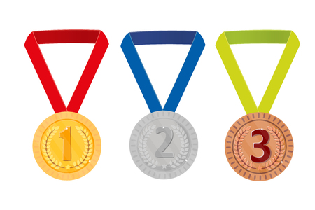 Trophy award, isolated on white background. Laurel wreath. Figures, coins. 1 2 3 Medals gold silver bronze. Vector Illustration