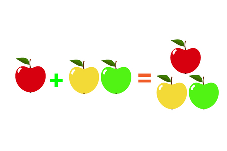 Examples with apples. Cartoon of mathematical addition, isolated on a white background. Vector illustration. Vettoriali