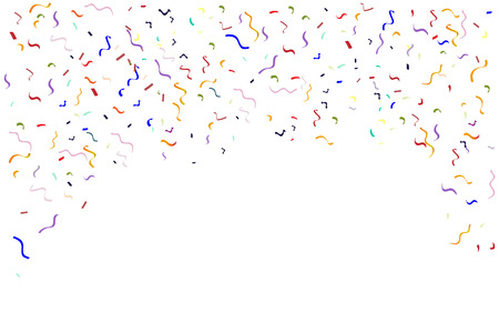 Colorful falling colorful and confetti ribbon. Isolated on a white background. Vector