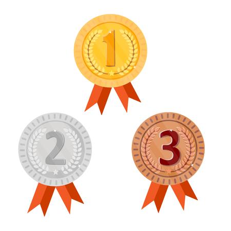 Campeón de medallas de oro, plata y bronce con cintas rojas. Victoria de icono redondo. Aislado sobre fondo blanco Vector.