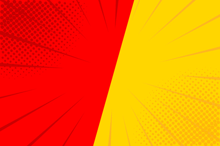 Pop art retro comic. Yellow and red background. Versus lightning blast halftone dots. Cartoon vs. Vector