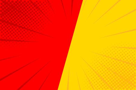 Pop art retro comic. Yellow and red background. Versus lightning blast halftone dots. Cartoon vs. Vector