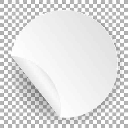 Round paper sticker. White label template with bent edge with shadow. Ilustração
