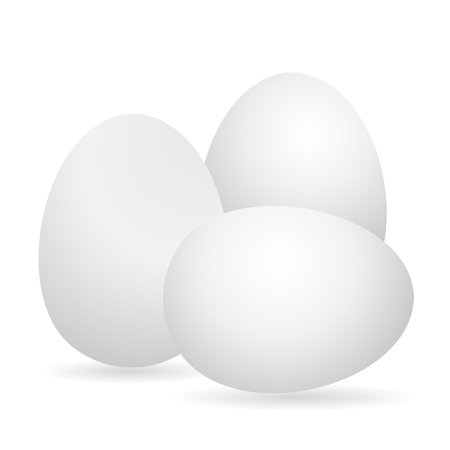 Egg. White 3D egg chicken. Isolated on white background. Vector illustration.