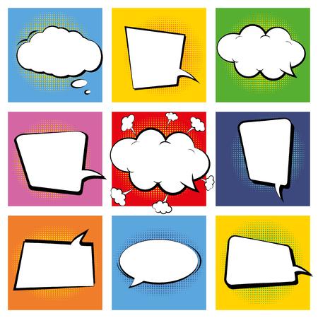 Conjunto de libros de historietas retro. Burbujas de discurso vacío de dibujos animados. Marcos coloridos del fondo del estilo del arte pop. Vector