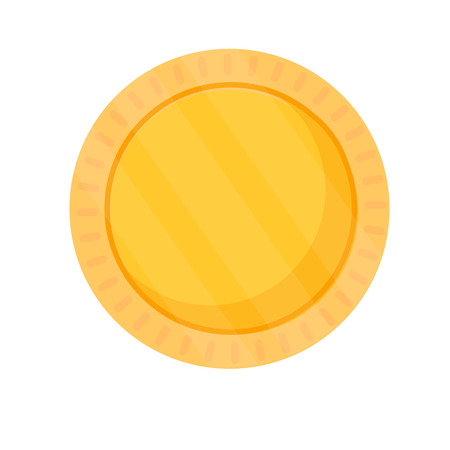blank coin template gold blank medal round icon isolated on