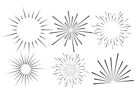 Abstract festive firework shape. Burst light rays. Exploding graphic element. Isolated on white background. Vector