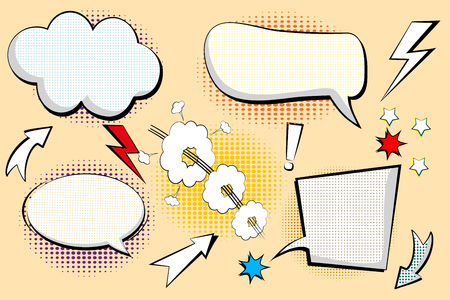 Set retro of cartoon, speech sketch. Comic speech bubbles. Empty dialog Clouds in pop art style with halftone shadows. Sketch black and white. Vector Illustration Vettoriali