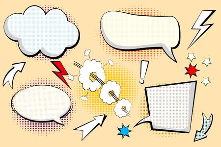 Conjunto retro de dibujos animados, boceto de discurso. Burbujas de discurso cómico. Nubes de diálogo vacío en estilo pop art con sombras de medios tonos. Boceto en blanco y negro. Ilustración vectorial