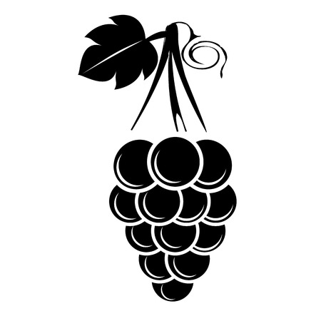 Black silhouette of a grape. Grape icon with a leaf. Isolated on transparent background. Vector illustration