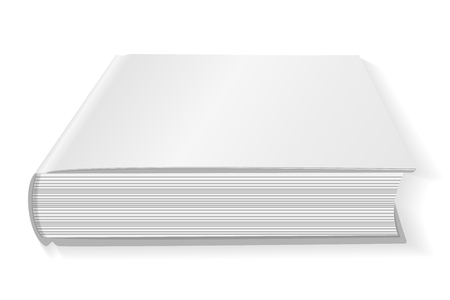 Blank white book cover . Isolated on white background. Mockup to display your design. Vector illustration