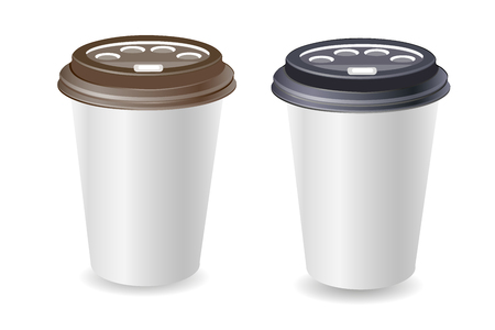 Paper blank coffee cup. Plastic and carton black and brown coffee or tea cup mock Up. Isolated on white background. Vector