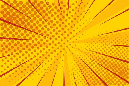 Cómic retro del arte pop. Superhéroe de fondo amarillo. Puntos de semitono de explosión de relámpago. Dibujos animados contra vector