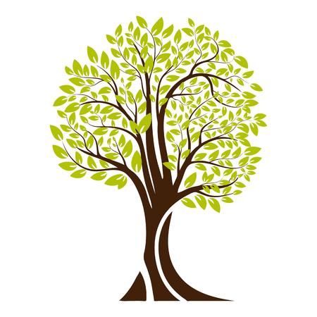 Green tree silhouette. Isolated on white background. Vector illustration Vektorové ilustrace