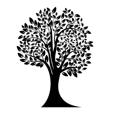 Black tree silhouette. Isolated on white background. Vector illustration