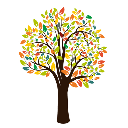 Autumn silhouette of a tree with colored leaves. Isolated on white background. Vector illustration