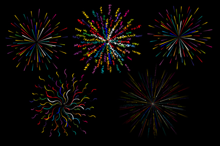 Colorful abstract festive firework shape. Burst light rays. Exploding graphic element. Isolated on black background. Vector illustration