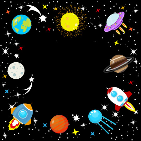 Spaceship in space among stars, planet Earth and Moon, Mars, Jupiter, moon, UFO. Cartoon rocket. Childrens simple space frame. Constellation of the Galaxy on a black background. Vector illustration.