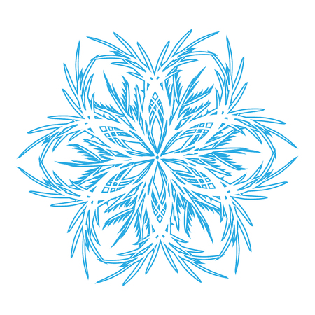 Winter blue snowflake icon. Isolated on white background. Vector Stok Fotoğraf