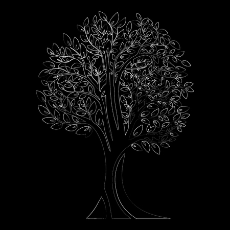 Black tree silhouette. Tree with roots. Isolated on white background. Vector illustration Ilustracja