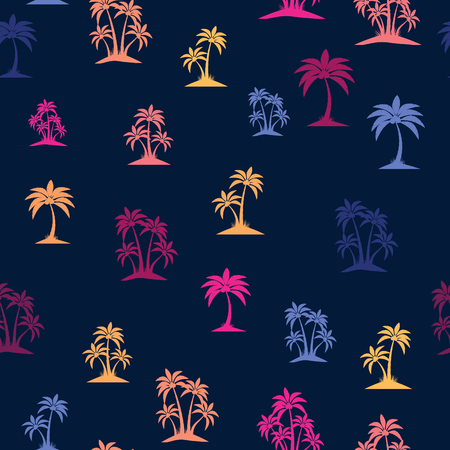 Palm trees. Retro 80's style colors. Seamless pattern. Vector illustration