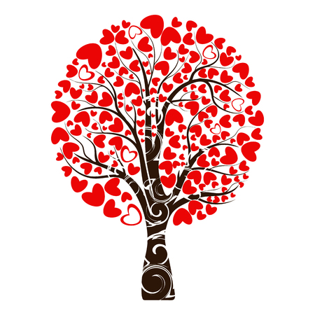Valentine tree, love, leaf from hearts. Tree with roots. Isolated on white background. Vector Illustration