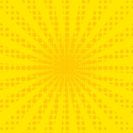 Pop art retro comic. Yellow background. Lightning blast halftone dots. Cartoon vs. Vector 일러스트