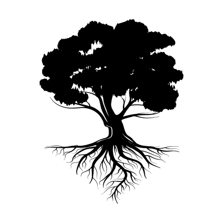 Logo of a black life tree with roots and leaves. Vector illustration icon isolated on white background. Stock Illustratie